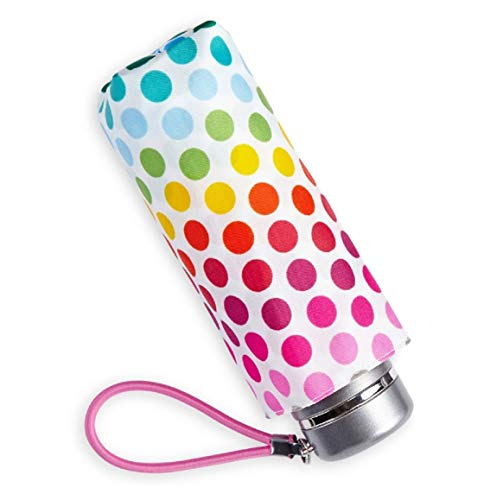 Totes Micro Mini Manual Compact Umbrella, NeverWet technology/White With Colorful Polka Dots