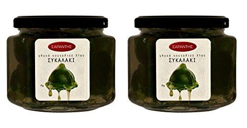 Griechische kandierte Früchte eingelegt in Sirup Feige. Griechische Löffelsüßigkeiten (eingelegte Früchte). Nettogewicht 900gr (Paket mit 2 Gläsern von je 453gr)