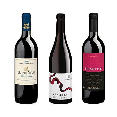 Bio Wein Rotwein aus reicher Natur Probierpaket Spanien Italien Frankreich Trocken Vegan 2016 2017 2018 (3 x 0.75 l)