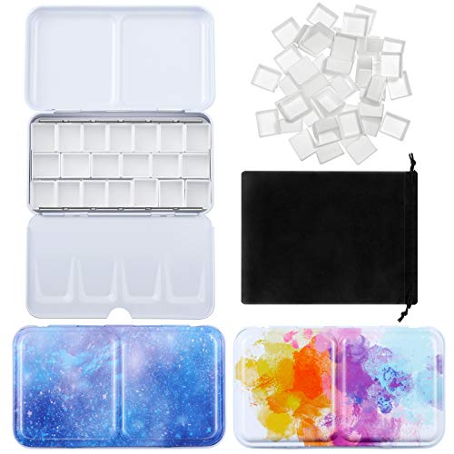 54 Pieces Watercolor Paint Palette and Half Pans Set, Colorful Watercolor Tin Box Metal Palette Paint Case with Lid Empty Watercolor Pans with Black Storage Bag (Starry Sky Color)