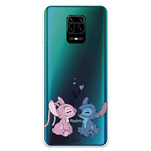 Funda para Xiaomi Redmi Note 9S - Xiaomi Redmi Note 9 Pro Oficial de Disney Lilo & Stitch, Angel & Stitch Beso para Proteger tu móvil.