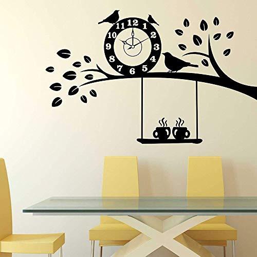 Tianpengyuanshuai Muurstickers boom en koffie, slaapkamer, woonkamer, deuren en ramen, vinyl, decoratie voor thuis, klok bird café restaurant