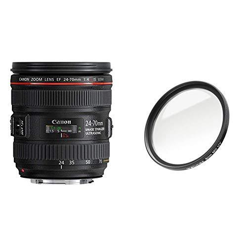 Canon Zoomobjektiv EF 24-70mm F4L is USM für EOS (77mm Filtergewinde, Autofokus, Bildstabilisator) schwarz & Walimex Pro UV-Filter Slim MC 77 mm (inkl. Schutzhülle)