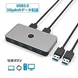 USB切替器 Anikks 3.0 高速転送 USB 切り替え PC2台用 セレクター スイッチ プリンタ マウス ハブ キーボード切替機 usb 切替 手動 1.5mUSBケーブルx2附属 (パソコン2:USB機器4)