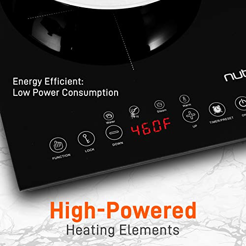 Product Image 4: NutriChef Double Induction Cooktop 120V Portable Digital Ceramic Dual Burner w/Kids Safety Lock-Works with Flat Cast Iron Pan,1800 Watt,Touch Sensor, 12 Controls PKSTIND48