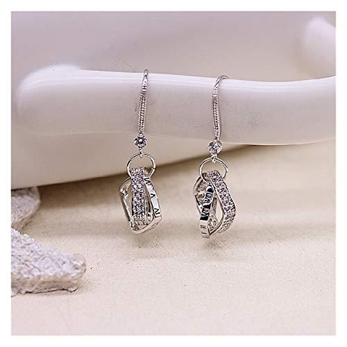 Arete Pendientes de plata esterlina en forma de diamante en forma de diamante coreano femenino nuevos pendientes de temperamento largo moderno Pendientes simples Pendientes para mujer ( Color : B )