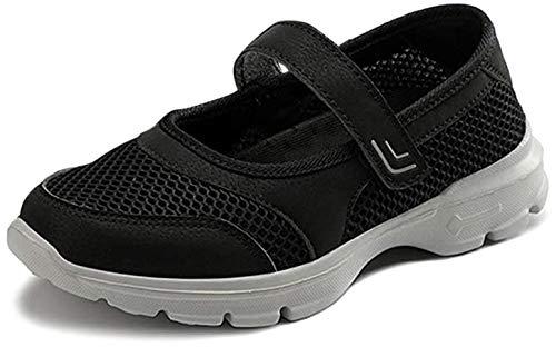 [BaHar] ナースシューズ レディース 安全靴 婦人靴 カジュアルシューズ ウォーキングシューズ 厚底スニーカー 大きいサイズ マジックテープ 看護師 超軽量 通気 歩きやすい 履きやすい 病院22.5cm-26.0cm (ブラックA, measure