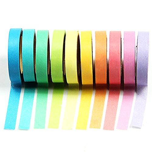 LEORX Washi-Nastro decorativo, motivo: arcobaleno, carta Washi Tape-Nastro adesivo per album fai da te, confezione da 10 pezzi