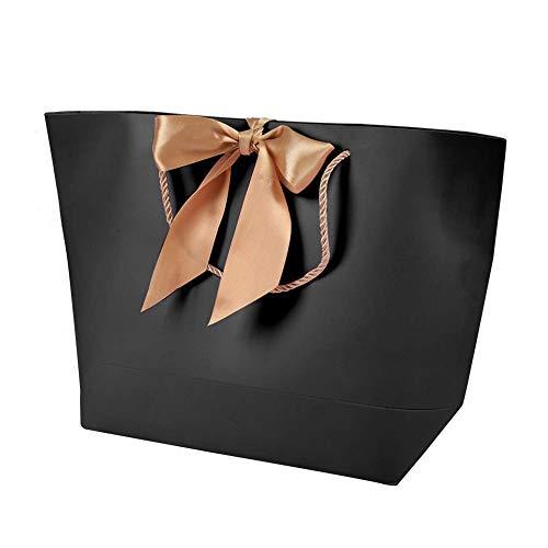 Bolsas de Regalo de Papel 10 Piezas Bolsas de Papel Bolsas de Regalo de Recuerdo, Ropa, Maquillaje, Bolsas de Embalaje de Boutique, con Mango de Oro(21 * 7 * 15)