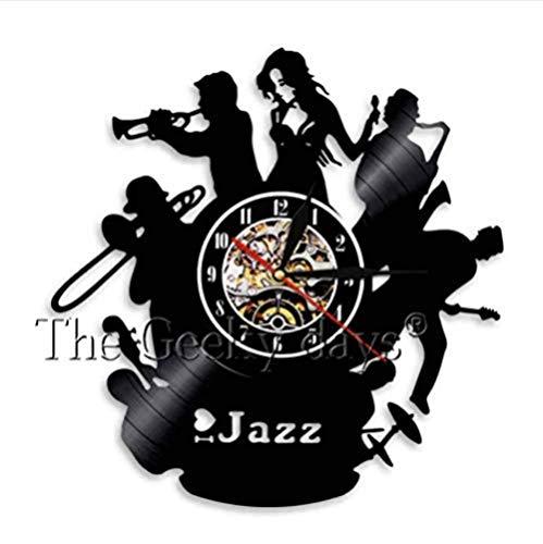 CHANGWW Wanduhr Musiker Jazz Cello Trompete klassisches Musikinstrument Schallplatte Wanduhr mit 7 Farbvarianten Geschenk für Jazz Spieler 12 inch