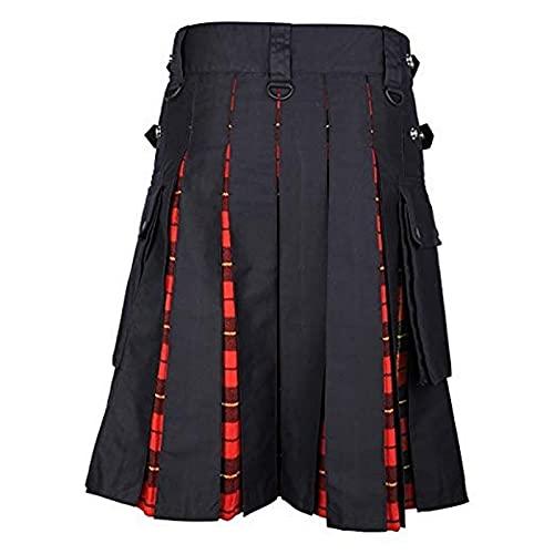 Astemdhj Falda Escocesa Scottish Skirt Patrón De Cuadros Faldas Medias Sueltas para Hombre Otoño Escocesas Escocesas Plisadas Pantalones De Cinturón De Moda para Hombre Pantalones