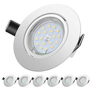 Foco Empotrable | LED Luz de Techo 5W Equivalente a Incandescente 60W | Blanco Cálido 2700K 600Lm AC220-240V | de techo de iluminación incluye bombilla LED para salón o dormitorio cocina etc 6 piezas