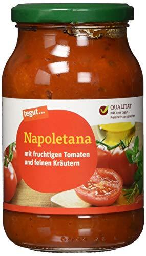 tegut… Nudelsoße Napoletana Glas – natives Olivenöl – fruchtiger Geschmack – zum erwärmen - wiederverschließbar, 1 x 400 g