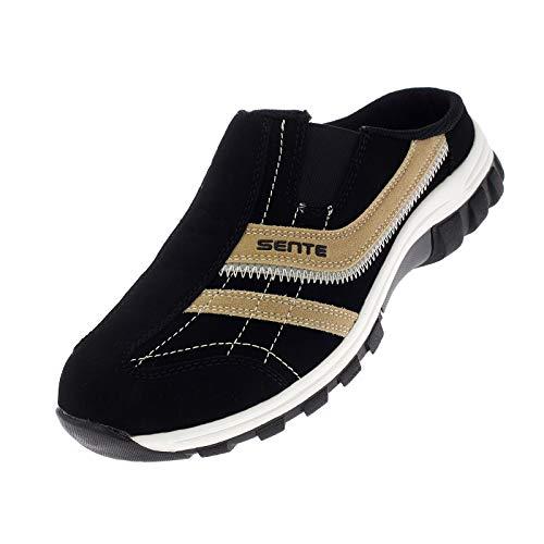 Damen Herren Sabots Schuhe Sandalette Pantoletten Slipper Freizeitschuhe 1971 Schwarz-Beige 42