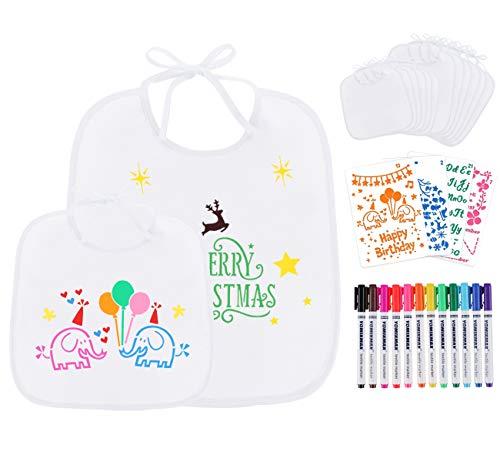 Personalisiert Baby Lätzchen - 12 Stück Bemalen Kinderlätzchen für Babydusche, Baby Dreieckstuch Halstücher mit 12 Textilstiften und 4 Malen Schablonen, Dreischichtiges Taschenvlies 18*18cm+ 25.5*30cm