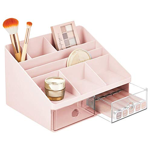 mDesign Organizador de maquillaje – Caja para cosméticos con 2 cajones y 8 compartimentos – Cajas para guardar maquillaje en plástico para el baño y otras habitaciones – rosa/transparente