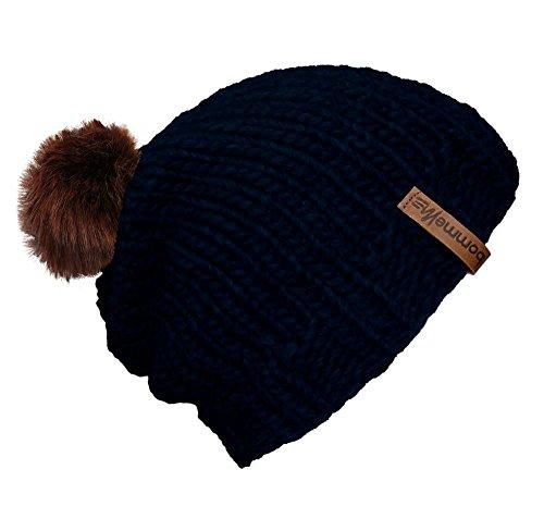 """BommelME """"Beanie Handmade Bonnet tricoté à la Main avec Pompon d'échange, Bonnet tricoté de Laine avec Pompom démontable, Taille Unique, Bonnet: Bleu"""