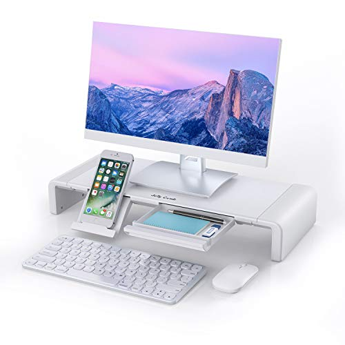 Monitor Stand Riser, Jelly Comb Foldable Computer Monitor Riser, Computer Stand with Storage Drawer, Phone Stand for Computer, Desktop, Laptop, Save Space (White)