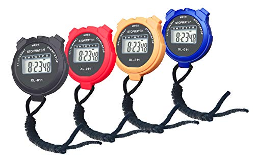 BESTWYA Simple Stopwatch, Large LCD Screen Handheld Count Up Timer with Time Calendar Clock Function (Pack of 4)