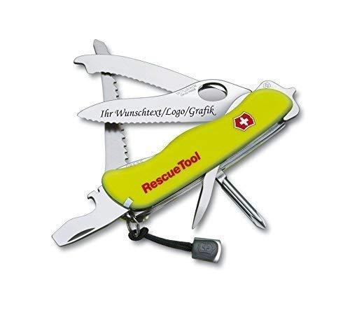 Original Victorinox® Rescue Tool mit persönlicher Gravur auf der Klinge graviert mit Logo Motive Schriftzug oder Grafik feine Lasergravur 0.8623.MWN
