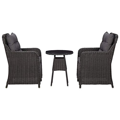 vidaXL Chaises de Jardin 2 pcs avec Table à Thé Chaises de Terrasse avec Table Basse Chaises de Balcon Extérieur Résine Tressée Noir