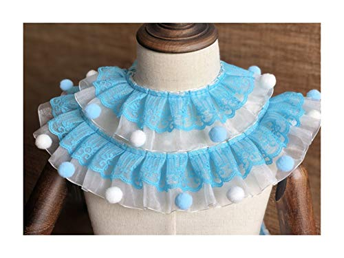 ZYQXB 7 Cm Wide Pink Purple Blue 3d Pleated Organza Lace Pompom Fleece Striped Ribbon Ruffled Skirt Collar Decorative Stitch Guipure Lace (Color : Blue with pompom)
