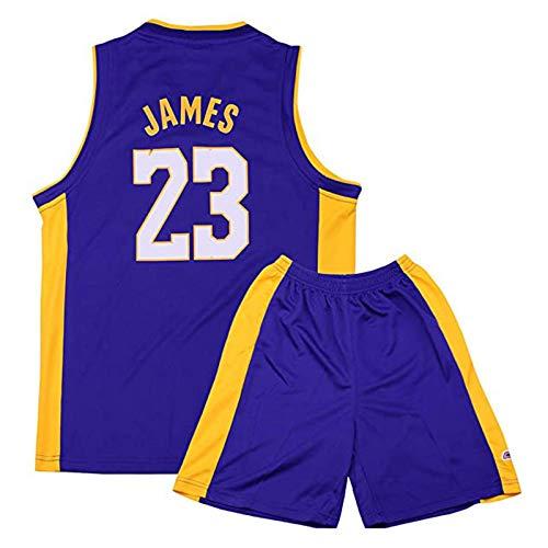 ACCZ James Lakers # 23 Kinder Basketball Trikot, Swingman Trikots Sportbekleidung, Jungen Mädchen Retro Ärmellos Sportausrüstungen, Sport Weste Schweißableitung Schnell trocknend,Lila,M
