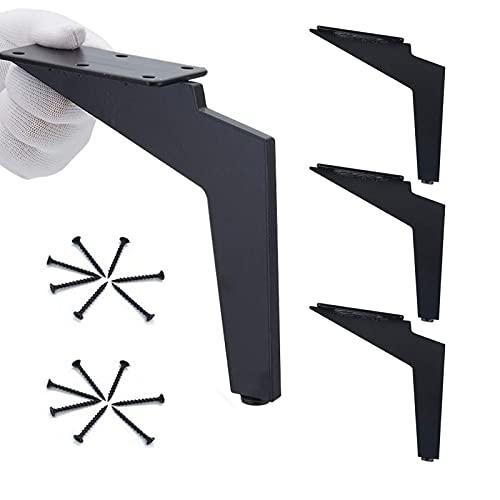 WMYATING Conjunto de 4 Patas de Muebles reemplazables, Patas de Mesa de Metal, adecuadas para sofá/Mesa de Centro/Cama y Otros Muebles, Negro (Color : Black, Size : 12.5cm)