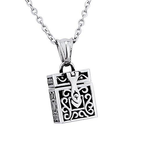 Retro Square Prayer Box Pendant Memorial Necklace Keepsake Stainless Steel Locket Pendant Necklace Memorial Jewelry