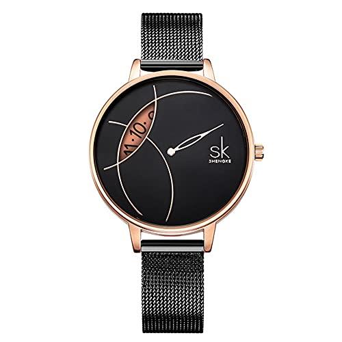 YIBOKANG Moda para Mujer Ocio Luz De Lujo Fecha Creativa 30M Banda De Malla De Acero Impermeable Reloj De Cuarzo Personalidad Simple Regalo De Cumpleaños Reloj De Moda