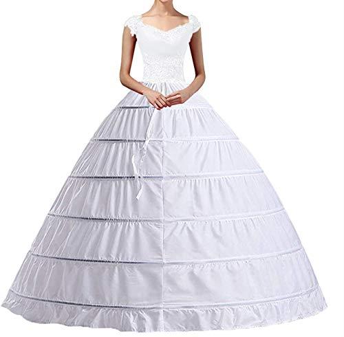 Damen Lang Reifrock Unterrock, A-Linie Hochzeit 6-Hoops Weiß Petticoat Crinoline Petticoat Fuer Abendkleider Ballkleider Promkleider Langer Unterrock für Hochzeit Brautkleid Ballkleid