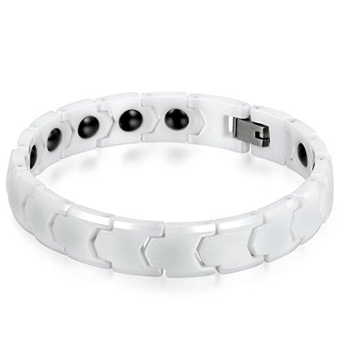 JewelryWe Schmuck Herren Armband, Keramik Porzellan, 11mm Breit Klassiker Poliert Link Magnetarmband Armkette, Weiss