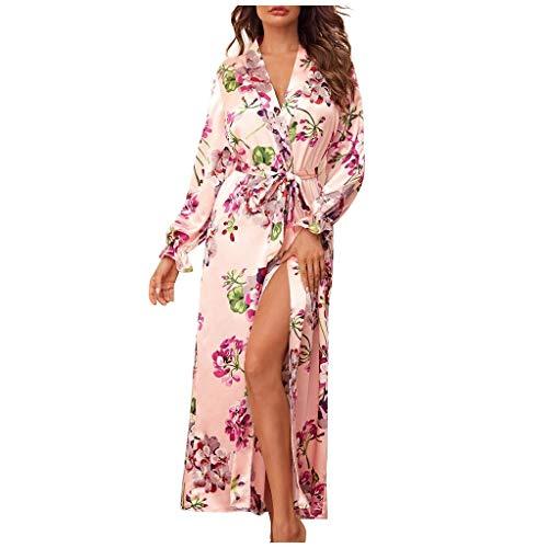 Fenverk Frau Sexy Die Seide Kimono Dressing Puppe Spitze Dessous Bad Robe NachtwäSche Schlafkleid Nachthemd Nachthemden Schlafhemd Pyjama Nighty Damen Neglige(Rosa,M)