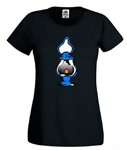Camiseta de Linterna, Camping, Aceite, lámpara, luz aislada, butano, Llama, Combustible, Gas para Hombre, Mujer, niños, 104 – 5 XL Negro para Hombre Talla : XX-Large