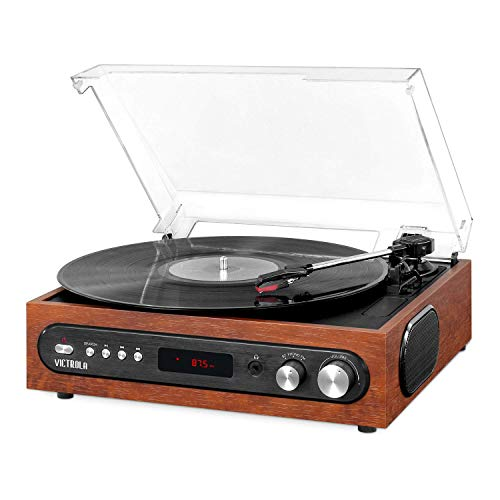 Victrola All-in-1 Bluetooth Record Player with Built in Speakers and 3-Speed Turntable Mahogany (VTA-65-MAH) (Renewed)
