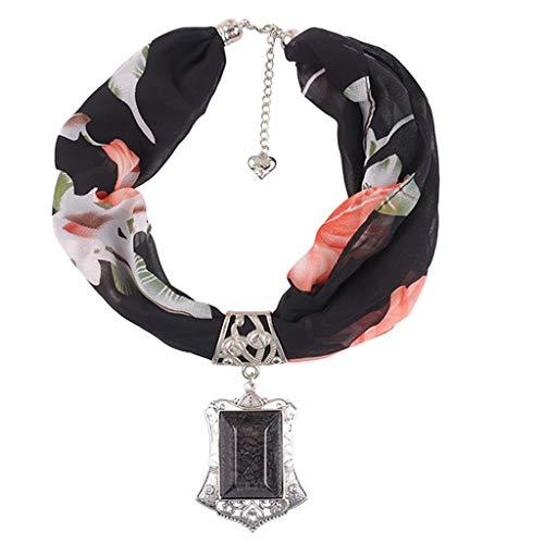 Sillor Halskette Schal Damen Mode Nationaler Stil Zubehör Chiffon Halstuch(60cm-80cm) Mit Kristallstein Anhänger Perfekte Match Kleidung