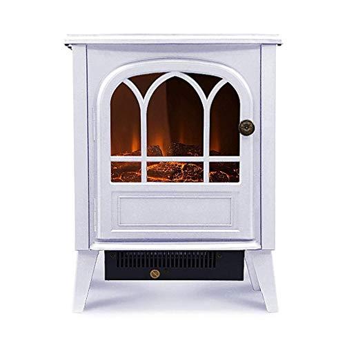 Un calentadorUn ventilador de calefacción Efecto realista llama eléctrica 900/1800 W, hasta un 30 M², termostato, la función de calefacción, control remoto portátil independiente ( Color : White )