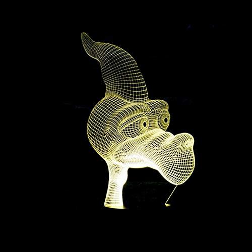 Yujzpl 3D-Illusionslampe LED-Nachtlicht, USB-betrieben 7 Farben blinkend Touch-Schalter Schlafzimmer Dekoration für Kinder Weihnachtsgeschenk[Energieklasse A +++]-Schreiender Pterodaktylus