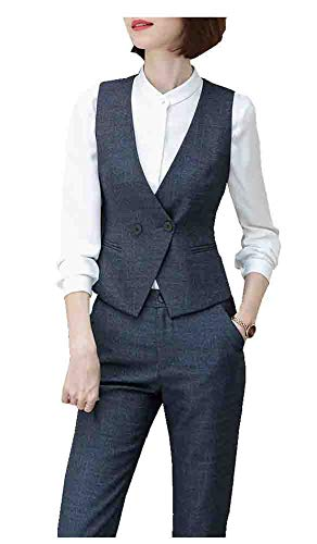 CYSTYLE Damen Weste Anzugweste Business Freizeit Weste Slim Fit (Grau, 44)