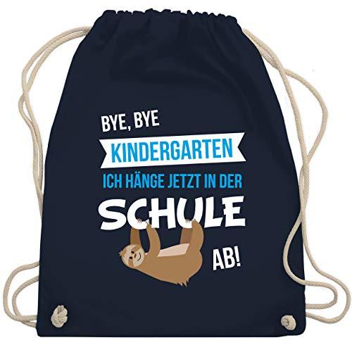 Shirtracer Einschulung und Schulanfang - Bye, Bye Kindergarten ich hänge jetzt in der Schule ab! - Unisize - Navy Blau - turnbeutel blau - WM110 - Turnbeutel und Stoffbeutel aus Baumwolle