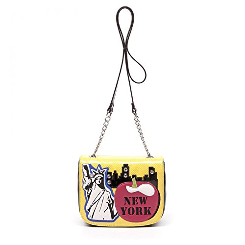 Braccialini Tasche Umhängetasche Cartoline New York Abendtasche Mini Bag Schultertasche Gelb