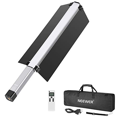 Neewer Light Handheld LED Video Light Stick Photography Lighting Kit with Barndoor/Remote Control/Carry Bag, USB Rechargeable/10 Brightness Levels/1500 Lumen/Color Temperature 3200K-5600K