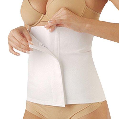 ComfortMed Faja lumbar unisex de algodón, banda elástica postoperatoria y postparto, faja abdominal y lumbar para dar calor, regulable, con cierre de velcro (blanca, talla 3)