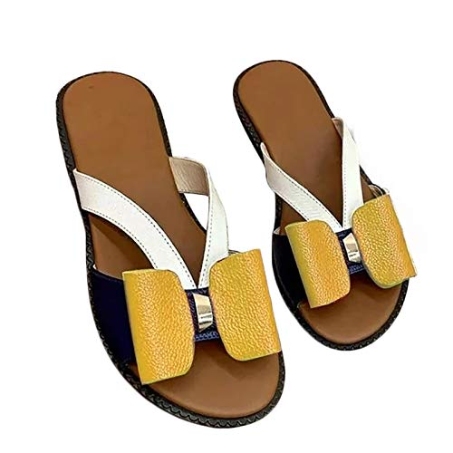Niazi Modische Bow Slipper für Frauen Bequeme Open Toe Slide mit niedlichen Schleifen Sandalen Beach Flat für Outdoor