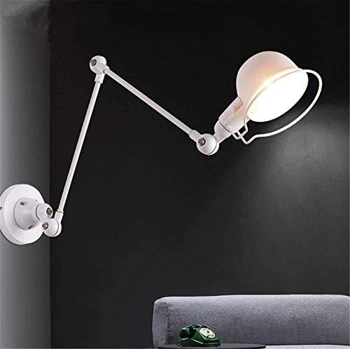 Lámparas de pared industriales, Luz de pared interior nórdico industrial retro creativo estadounidense blanco labrado hierro ajustable brazo de pared lámpara de pared E14 Socket para sala de estar dor