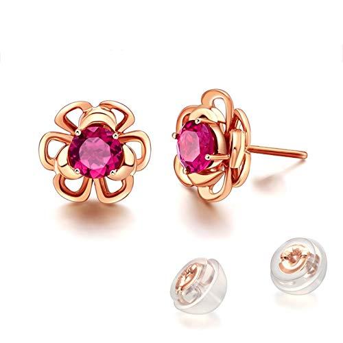Beydodo Pendientes Oro Rosa Mujer,Pendientes Oro Rosa 18k Flor con Redondo Turmalina 1.38ct