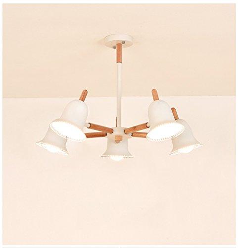 Chambre plafonnier moderne simple couverture Lampe Créative Éclairage Salon Salle à manger Appartement Cuisine Plafond éclairage Bois Fer Lampe ø71 cm à 5 ampoules E27 max 40 W Blanc