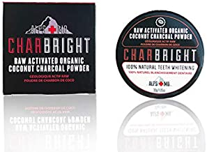 CHARBRIGHT Organic Activated Charcoal Teeth Whitening Powder With Coconut By ALPS MD | 100% Food-Grade Raw Charcoal For Better Oral & Dental Hygiene | Charcoal Powder For Teeth & Gums [Flavorless]