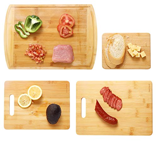 bamfitwell Bamboo Cutting Board with Juice Groove(4-Piece Set) -Best Kitchen Chopping Board for Chopping Meat, Vegetables, Fruits, Cheese, Butcher Chopping Block & Wood Large Serving Tray Holder