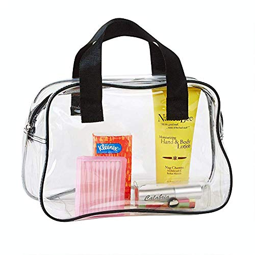 Clear Makeup Bag with Handle for Travel, Transparent Purse, Toiletry Storage, or Stadium Events
